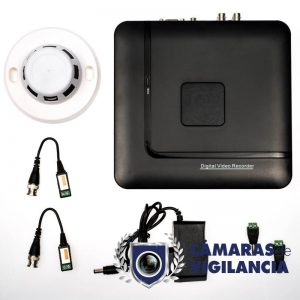 kit cctv grabador 4 entradas con cámara en detector de humos